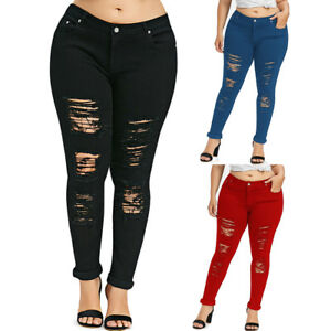 7ce4724d0fa Image is loading Womens-Denim-Skinny-Ripped-Pants-Stretch-Jeans-Distressed-