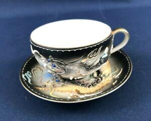 Dragon Ware porcelain cup & saucer Heavy Moriage Japan Lithophane 1930s - 1960s