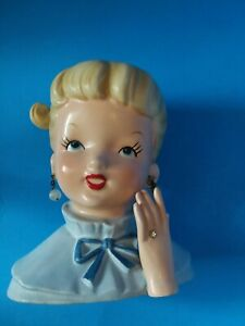 Napco-C5037A-Lady-Head-Vase-Blond-Ponytail-Blue-Jacket-Hand-w-Ring-Earrings-1960