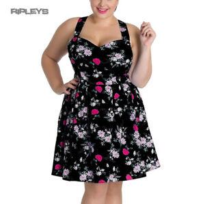 Hell-Bunny-Summer-Mini-Dress-BELINDA-Rose-Floral-Flowers-Black-All-Sizes