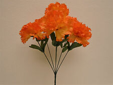 "4 Bushes ORANGE Carnation 6 Artificial Silk Flowers 16"" Bouquet FB341OR"