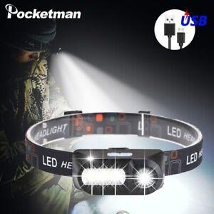 50000lm Mini XPE+COB LED Headlamp USB Rechargeable Headlight Flashlight Torch