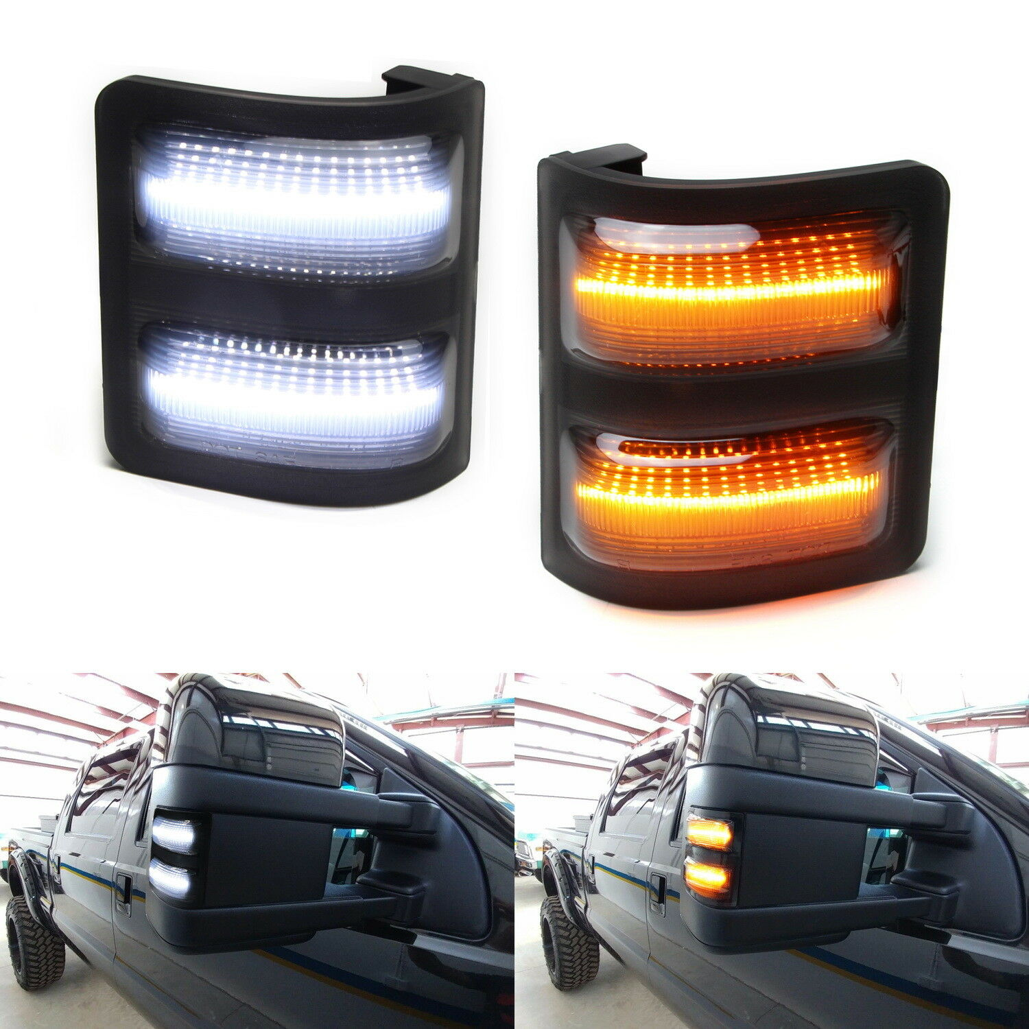 For 2008 16 F250 F350 F450 Smoked Lens Switchback Led Side