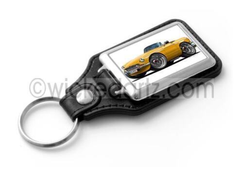 WickedKarz Cartoon Car MGB Roadster Classic Sportscar in Yellow Stylish Key Ring