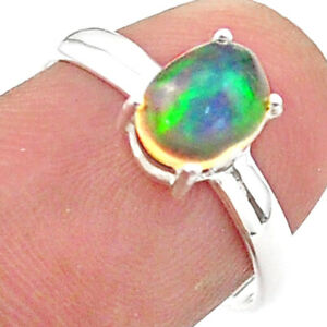 2.05cts Solitaire Natural Multi Color Ethiopian Opal Silver Ring Size 7 T40949