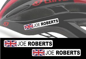 UNION JACK Flag 2 X Custom Rider Name Helmet Stickers Bike Bicycle Cycling
