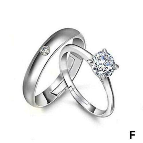 Elegante Frauen Männer Silber Verlobungsring Versprechen Schmuck Hochzeit B K6T9