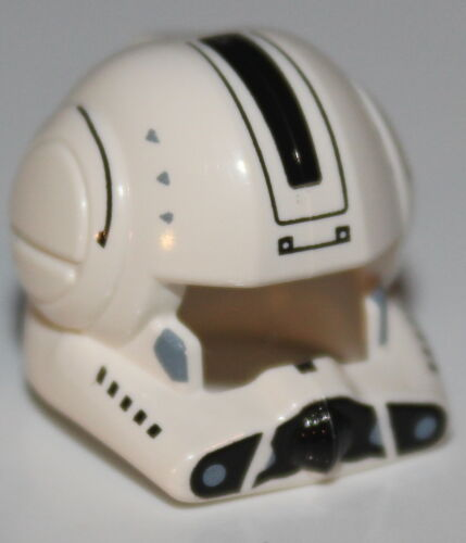 Lego Star Wars White Minifig Helmet Clone Pilot w/ Open Visor and Black Markings