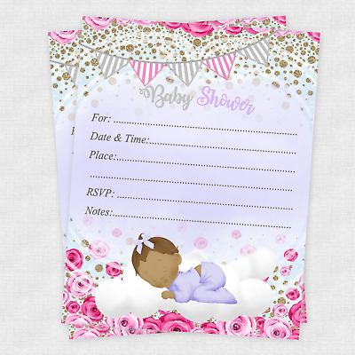 20 Girl Baby Shower Invitations Cards Invites Decorations Purple Envelopes Ebay