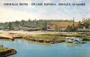 EUFAULA-AL-Alabama-CHEWALLA-MOTEL-Boats-Lake-ROADSIDE-c1960-039-s-Chrome-Postcard