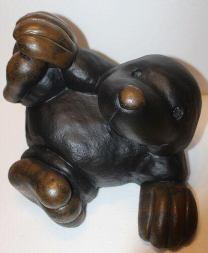 Dekofigur lustiger Maulwurf H 28 cm liegend auf Rücken Gartenfigur aus Kunstharz
