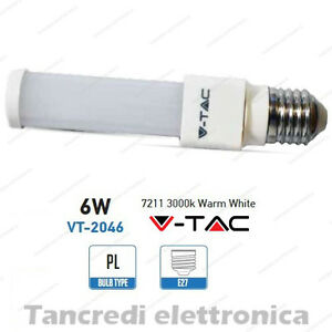 Lampadina-led-V-TAC-6W-50W-E27-bianco-caldo-3000K-VT-2046-PL-tubolare-smd-VTAC