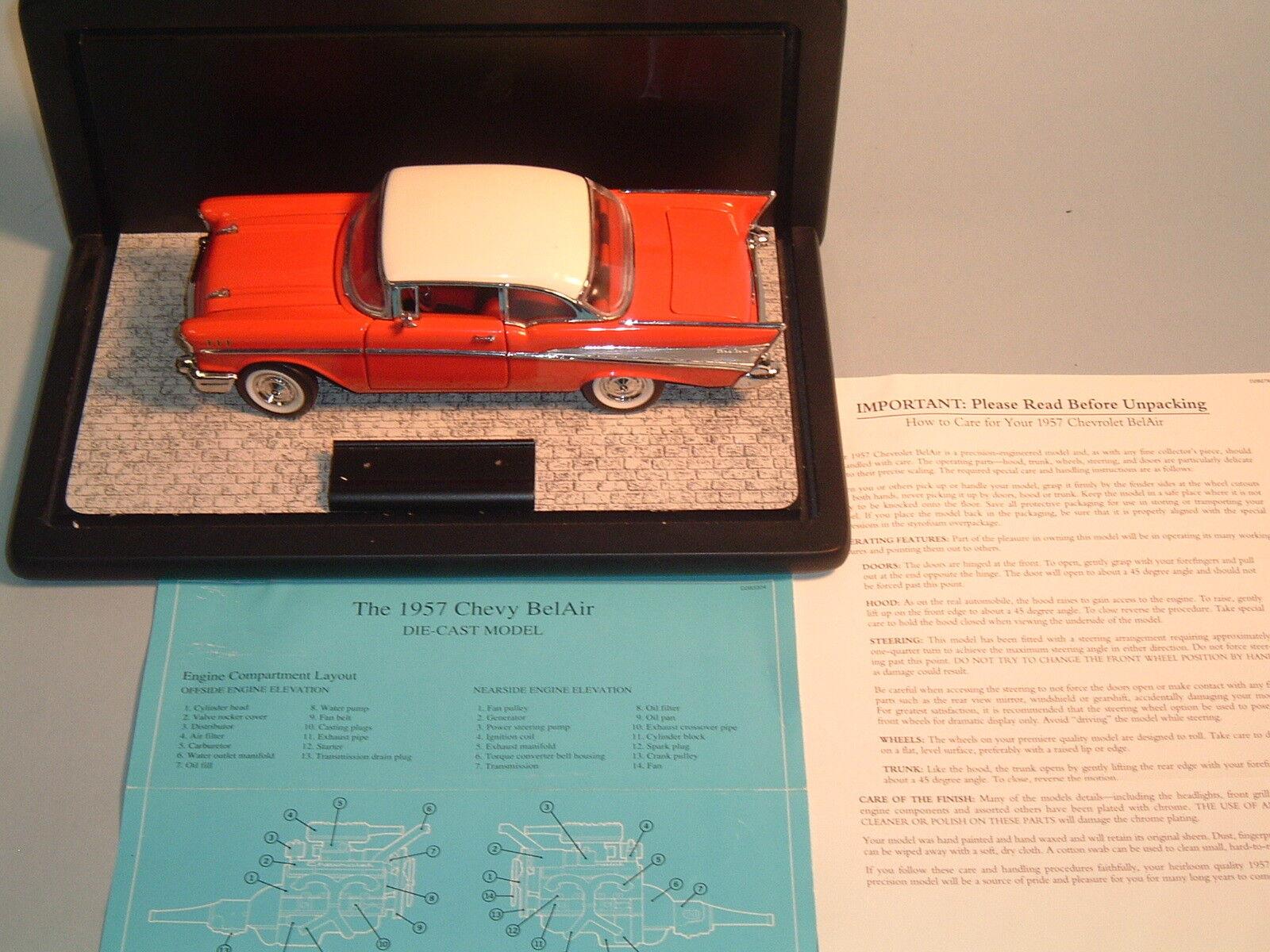 1957 CHEVROLET BEL AIR röd HARDTOP FRANKLIN MINT 1 24 DIESCAST MED DISspela CASE