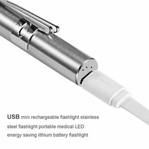 Medical-Handy-Pen-Shaped-USB-Rechargeable-Flashlight-LED-Torch-with-Clip-NP