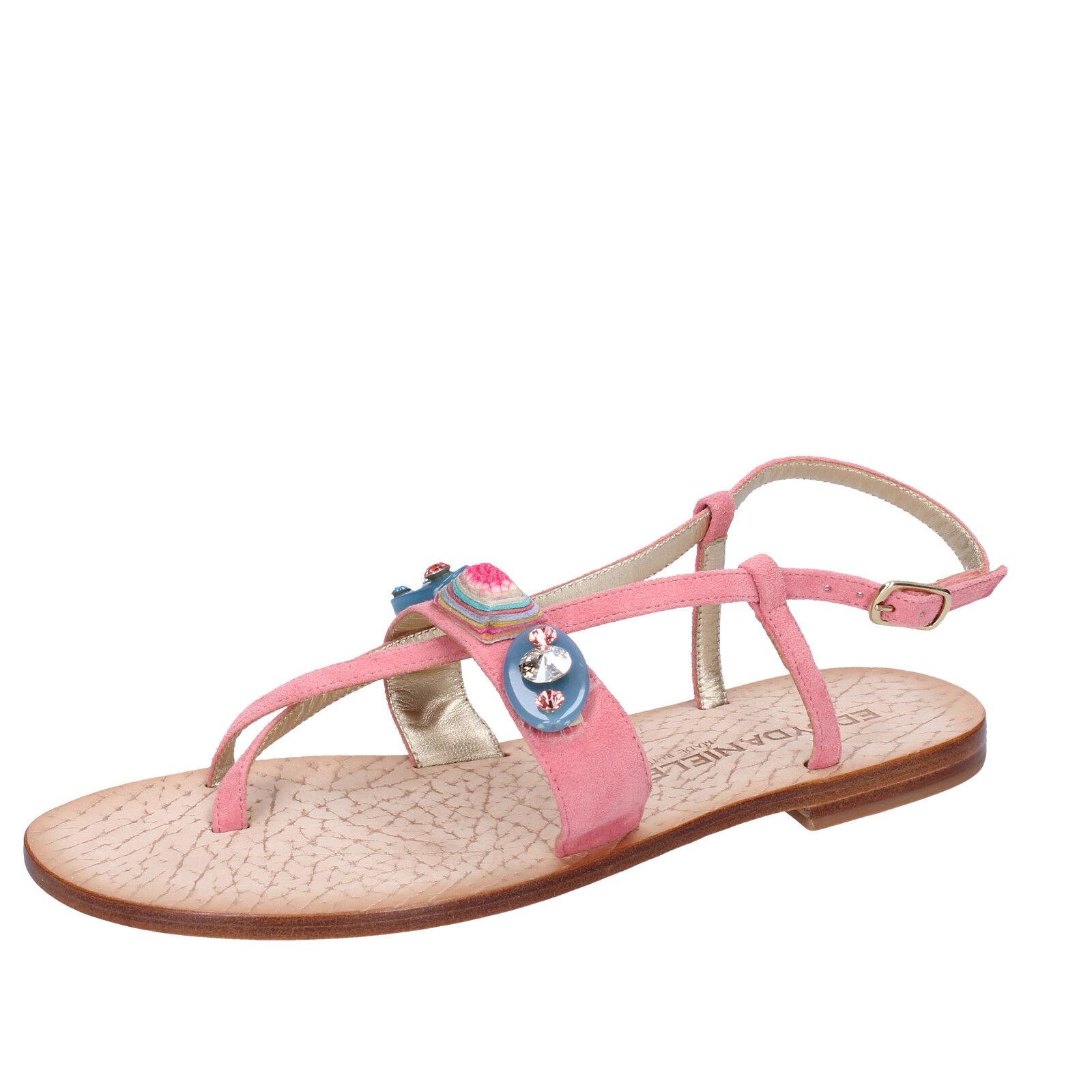 Women's shoes EDDY DANIELE 7 (EU 37) sandals pink suede swarovski AW199-37