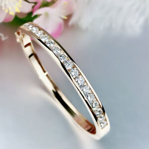 9ctw-5-0mm-Round-Brilliant-VVS1-DF-Moissanite-Bangle-14K-Yellow-Gold-Plated-S925