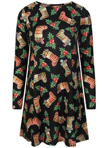 New Ladies XmasOrnament Santa Snowflake Novelty Flower Print A Line Swing Dress