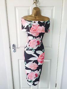 Black-Floral-Evening-Monochrome-Bardot-Midi-Pencil-Bodycon-Stretch-Party-Dress