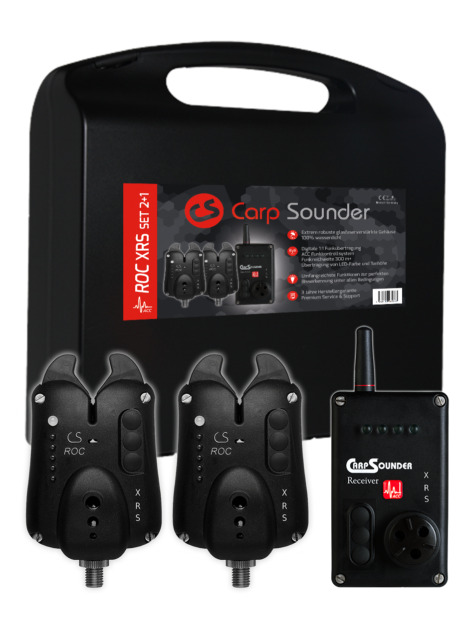 Carp Sounder ROC XRS ACC 2+1 Set im Koffer Carpsounder Funkbissanzeiger