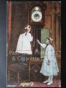 Old-PC-039-Mischief-039-Children-playing-with-Grand-Father-Clock-by-J-W-B-Series-301