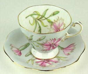 Foley-Vintage-Teacup-amp-Saucer-034-Pink-034-baby-blue-w-dianthus-flowers-handpainted