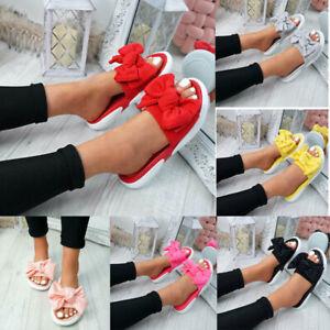 Womens-Bowknot-Flat-Sandals-Slip-on-Slipper-Flip-Flops-Summer-Casual-Beach-Shoes