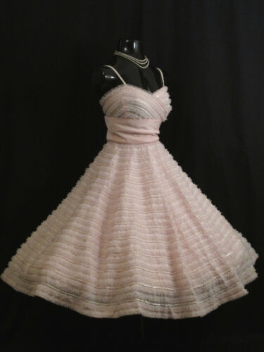 Vintage 50's 50s Rappi Pink Taffeta Tulle Sequins
