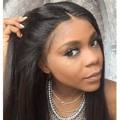 100 Indian Remy Human Hair Front Lace Wigs Silky Straight Glueless Full  Wig
