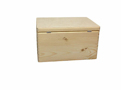Unpainted Wooden Chest Trunk Storage Unit Unfinished Souvenir Box- 40x 30x 23cm
