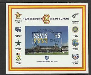 NEVIS-2000-LORD-039-S-CRICKET-100th-CENTENARY-TEST-MATCH-Souv-Sheet-USED