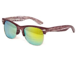 d1830d2594c Details about Wood Print Retro Sunglasses Mens Womens Vintage Metal Half  Frame Mirror