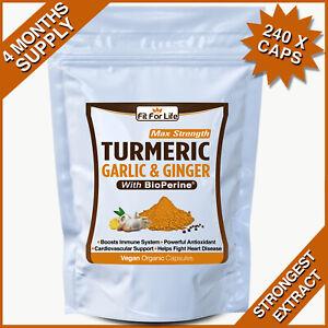 240 TURMERIC GARLIC GINGER BIOPERINE CURCUMIN BLACK PEPPER STRONG CAPSULES PILLS