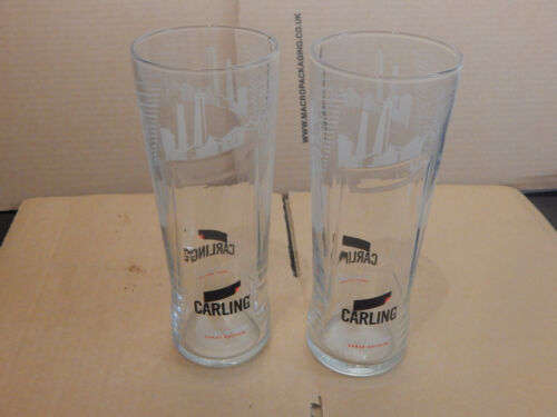 2 X CARLING BURTON ON TRENT PINT GLASSES NUCLEATED AND TEMPERED GLASS