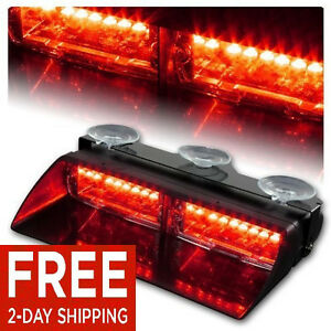 16 Led Car Truck Emergency Dash Interior Windshield Warning Flash Strobe Lights Ebay