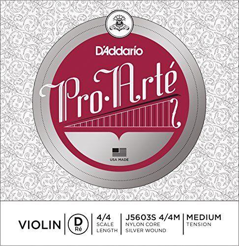 D'Addario Pro-Arte Violin Single Silver Wound D String, 4/4 Medium Tension