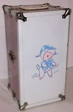 """Vintage 1950s Cass Toys Pink & White Doll Case Trunk w/ Baby Lamb & Drawer 13.5"""""""