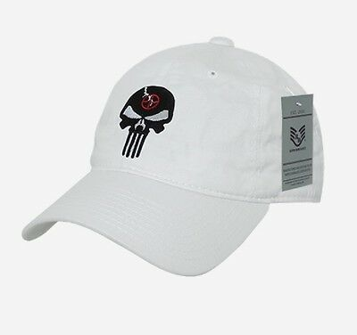 Us Rapdom Punisher Craft White Skull Relaxed Graphic Cap Berretto Bianco-mostra Il Titolo Originale Elegante Nell'Odore