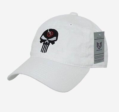 Us Rapdom Punisher Craft White Skull Relaxed Graphic Cap Berretto Bianco-mostra Il Titolo Originale Elegante Nell'Odore
