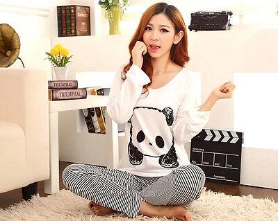 Cute Bear Lady Women Pyjamas Nightwear Sleep Pajamas Long Sleeve Two Pieces Set