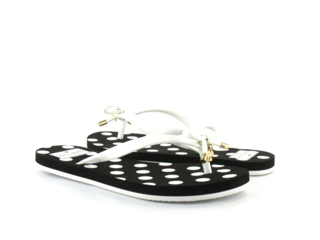 445c4c5ff Kate Spade New York Nova White Shiny Rubber Polka Dot Black Flip Flop Sandal  5