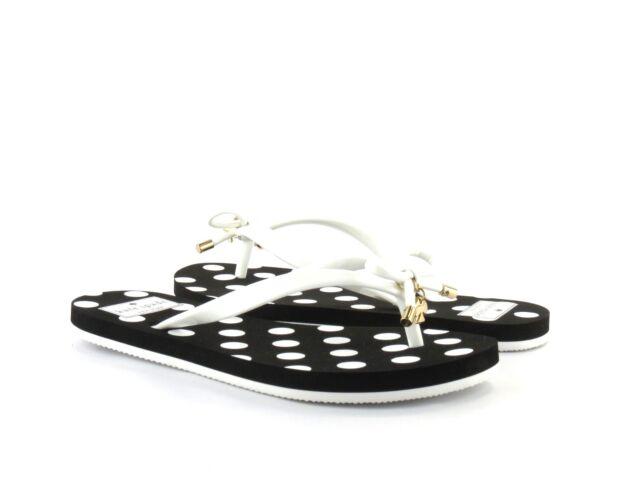 445c4c5ff Kate Spade New York Nova White Shiny Rubber Polka Dot Black Flip Flop Sandal  5