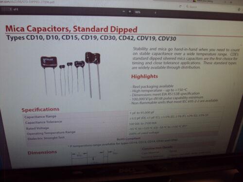 E 50-PCS LOT Silver Mica MICA Cornell Dubilier Series CD15  120pF 500V