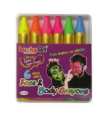 Neon Face & Body Painting Crayon Set - 6 Colour Kit - Sticks Party Kids