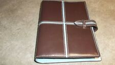 Franklin Covey 365 Brown Teal Blue Faux Leather Compact Planner 6 Ring Binder