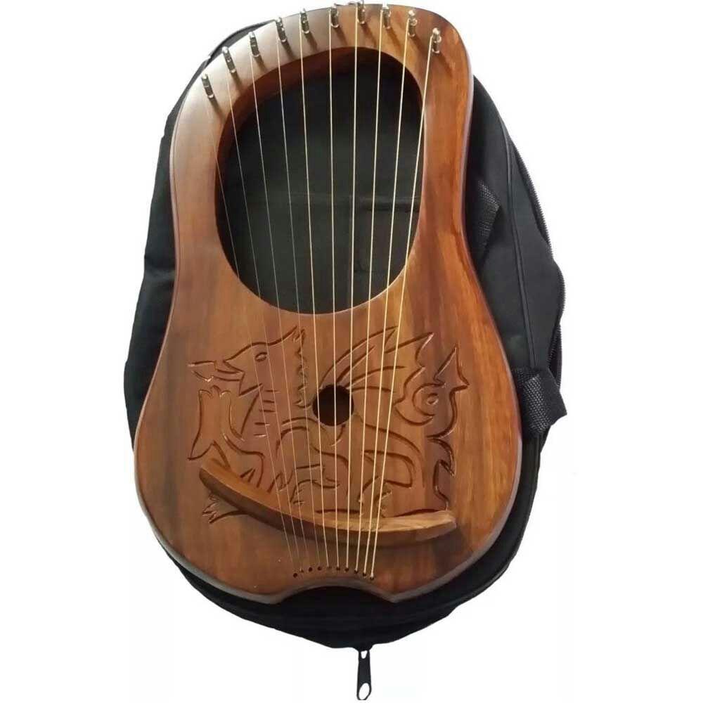 CC Lyre Harp Engraved Celtic Welsh Dragon/Lyra Harp Sheesham Wood Dragon