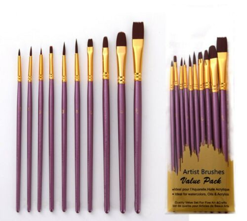 10 Combined Purple Oil Painting Nylon Brushes Set Acrylic Watercolor Paint Craft