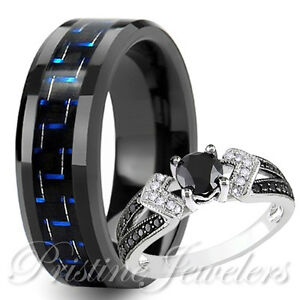 His Black Tungsten Blue Carbon Her 925 Sterling Silver Wedding Ring