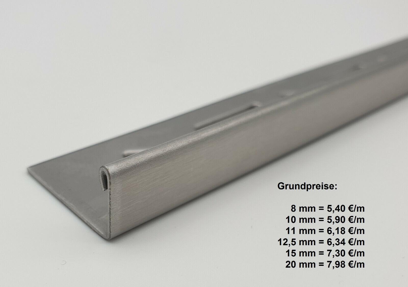 Edelstahl U-Profil gebürstet Korn 320 Innen Maß axcxb 15x15x15 mm  1.4301 V2A