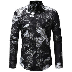 Men-039-s-Long-Sleeve-Printed-Shirt-Fashion-Slim-Fit-Tops-Stylish-Men-Shirt-Tops
