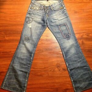 Lucky-Brand-Lil-Maggie-Low-Rise-Slim-Fit-Boot-Leg-Jeans-Size-0-25-Peace-Design